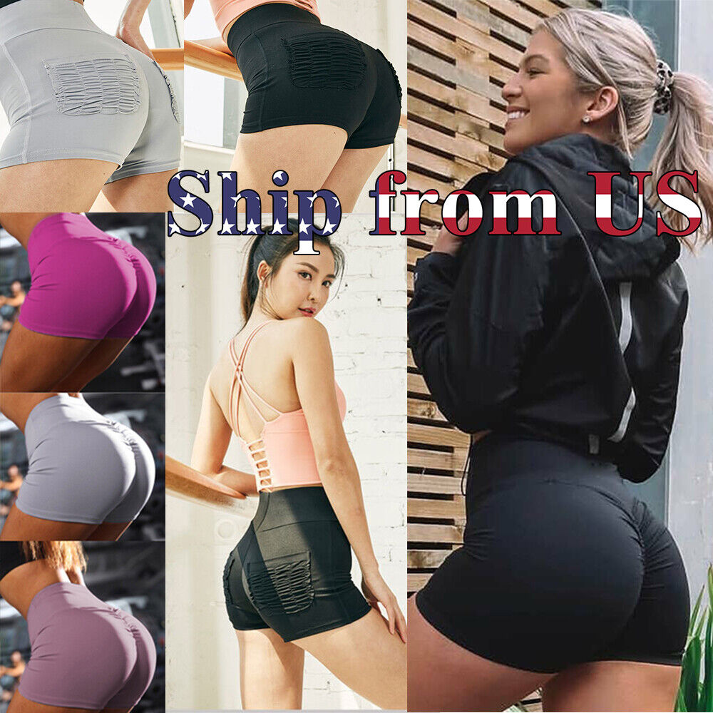 Women Shorts Running Yoga Gym Pants Sports Workout Beach High Waist Short US Clothing, Shoes & Accessories