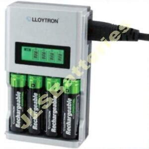 1 Hour FAST LCD Mains BATTERY CHARGER for 4 AA or AAA Ni-Mh Ni-Cd