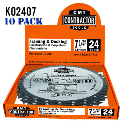Decking Blade (CMT K02407-X10 ITK Contractor Framing/Decking Saw Blade Masterpack, 7-1/4 x 24 T)