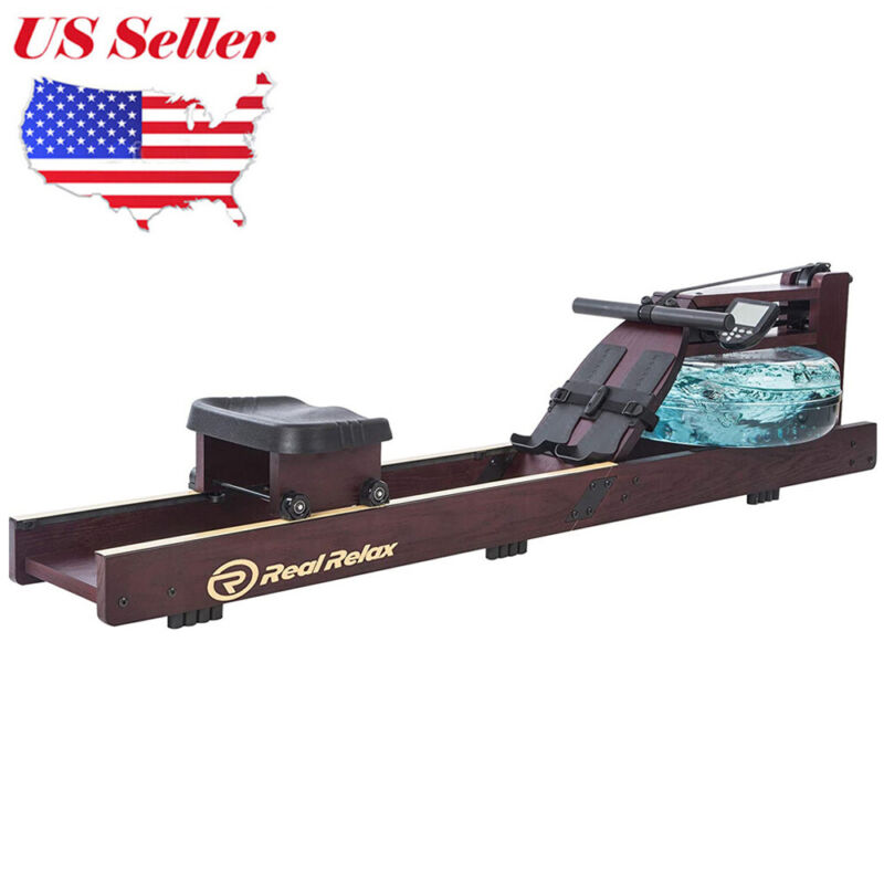 Water Rower Cardio Fitness Wood Rowing Machine LCD Monitor Home Exercise Gym FS