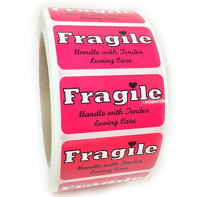 Pink Fragile Handle With Tender Loving Care Labels Stickers 1 By 2 - 1000 Ct