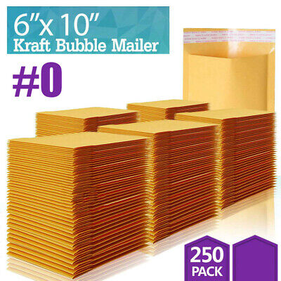 250 Pcs 0 Kraft Bubble Mailers Shipping Mailing Padded Bags Envelopes Self-seal