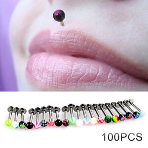 Lot 100 Stainless Steel 16G Labret Lip Bar Ring Spike Stud Body Piercing Jewelry