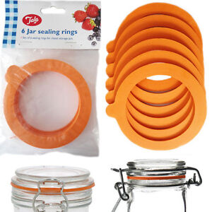 O Rings Jar Sealing Ring Lid 6x Rubber Storage Glass Airtight Leak Proof  Kitchen