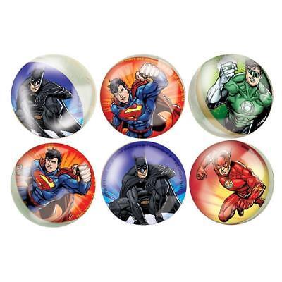 JUSTICE LEAGUE PACK OF 6 BOUNCY BALLS SUPERMAN BATMAN FLASH GREEN LANTERN PARTY (Superman Party Pack)