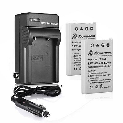 2x EN-EL5 Battery + Charger for Nikon Coolpix P530 P520 P500 P100 P90 P80 P510