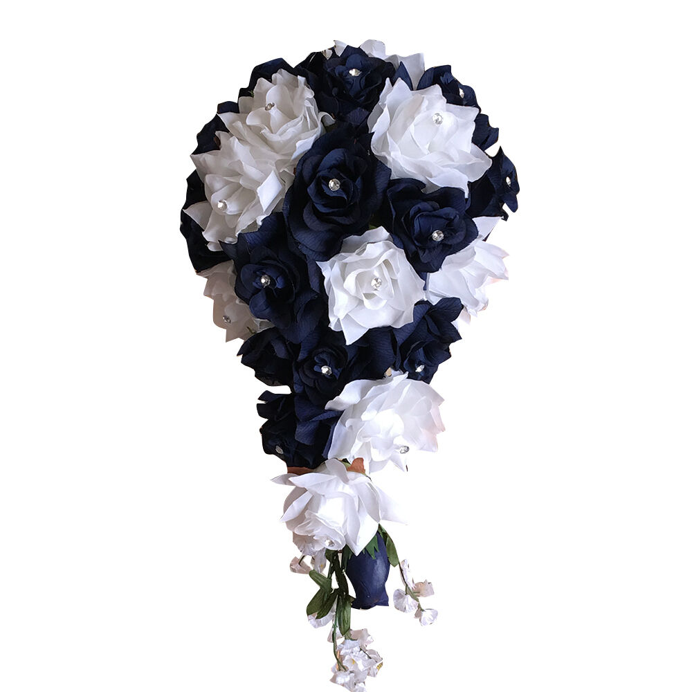 Cascade teardrop bouquet: White and Navy Marine Blue Roses