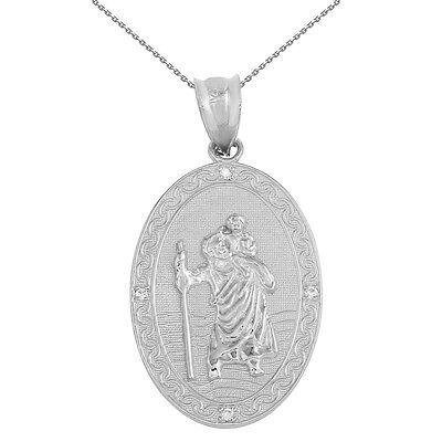 Sterling Silver Saint Christopher Medallion 4 Cz Stones 1 12  Pendant Necklace