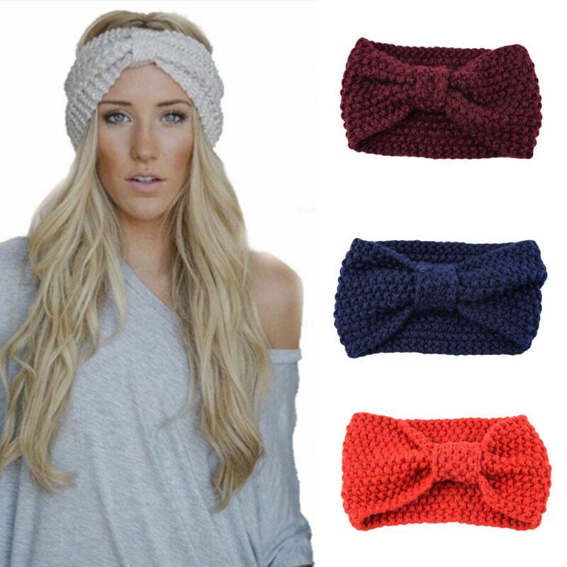 Women Hair Ball Knitting Headband Elastic Handmade Bow Design HairBand