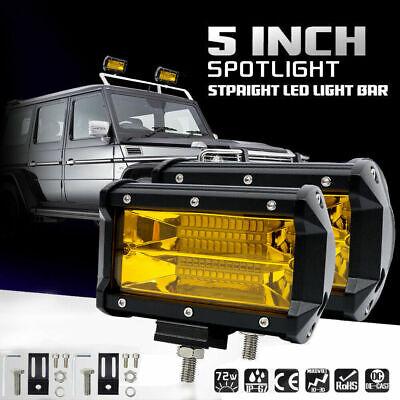 "2X 5"" 72W Car LED Work Light Bar Spot Beam Fog Driving Offroad SUV Amber Lamp US"