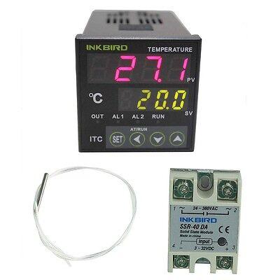 Acdc 12v 24v Digital Temperature Temp Controller Pid 40da Ssr Pt100 Sensor