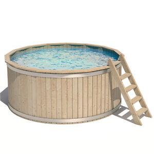 Isidor piscina rotonda in legno vasca nuotare swimmingpool for Pool innenfolie 350x90