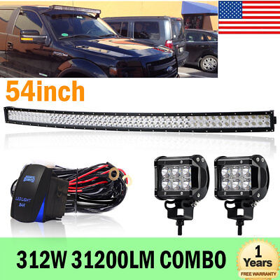 54inch 312W LED Curved Light Bar Combo Offroad SUV Tractor Boat Jeep UTE ATV
