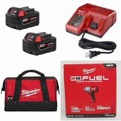 Milwaukee 2767-22 M18 IMPACT (2) BATTERIES 48-11-1850 & CHARGER 48-59-1812 & BAG