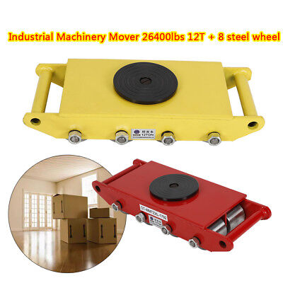 Yellowred 12t Heavy Duty Machine Dolly Skate Roller Machinery Mover Steel Wheel