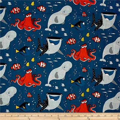 Premium Cotton Quilt (Disney Finding Dory All Smiles Quilt Fabric Finding Nemo Premium Cotton )