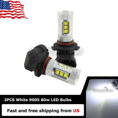 Изображение товара 2x 6000K White 9005 HB3 80W Equivalent LED bulbs only for DRL Fog Lights
