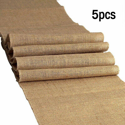 Burlap Wedding Decorations (5pcs Burlap Table Runner 12
