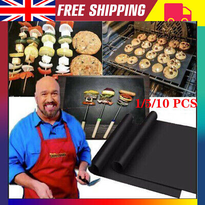 UK BBQ GRILL MAT SHEETS NON STICK OVEN LINERS REUSEABLE BLACK GAS BAKING TRAY