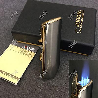 Butane Jet Flame Cigar - JOBON Triple Flame Torch Jet Butane Cigar Cigarette Lighter Gray with Box Punch