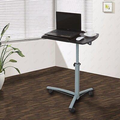Rolling Laptop Table Stand Overbed Desk Tilting Tabletop TV Food Tray Hospital