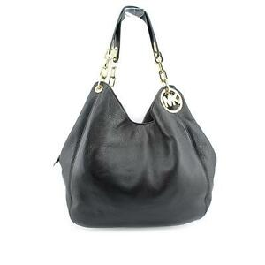 michael kors fulton large leather shoulder bag black ebay rh ebay com