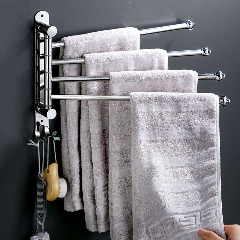 4 Swivel Bars Bathroom Towel Holder Rack Rail Hanger Shelf 304 Stainless Steel