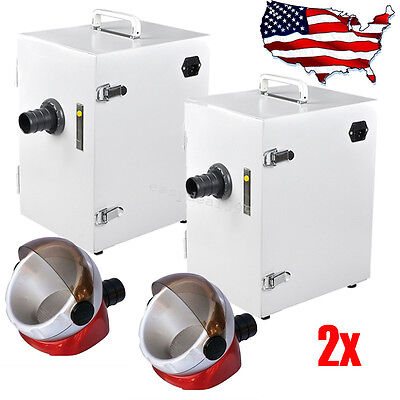 2x Dental Digital Single-row Dust Collector Vacuum Cleaner Desktop Suction Base