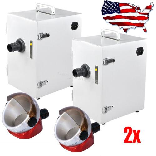 2x Dental Digital Single-Row Dust Collector Vacuum Cleaner Desktop Suction Base