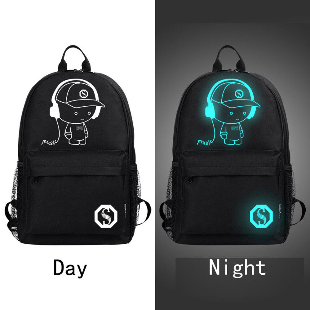 Unisex Light Luminous cool Noctilucent Cartoon School Bags Oxford Soft Backpack