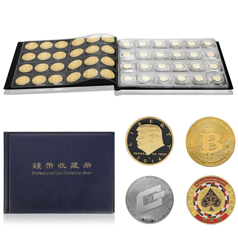 240 Slots Leather Coin Collection Display Album Folder Holde