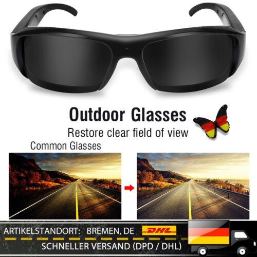 1080P Spion Videobrille Sonnenbrille 5MP Verstecke Kamera HD AVI Brille DC-5V HS