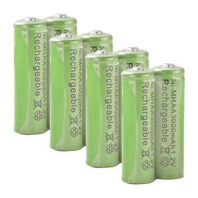 8Pcs Long Life AA 3000mAh 1.2V Ni-MH Rechargeable Battery Batteries Green RC1026