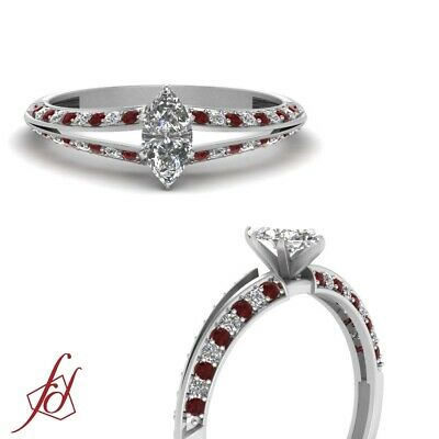 Marquise Cut Diamond And Ruby Delicate Split Shank Engagement Ring 0.85 Carat