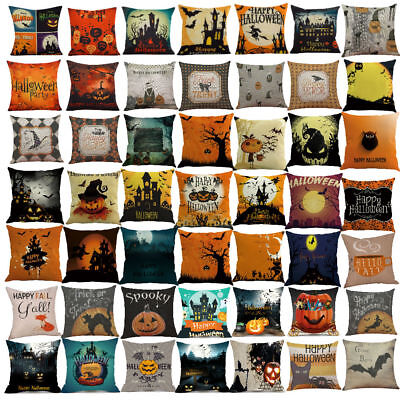 Happy Halloween Linen Sofa Bed Cushion Cover Throw Pillow Cases Dorm Home D ()