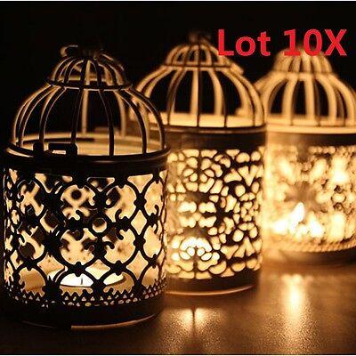 (10) x Metal Hollow Candle Holder Tealight Candlestick Bird Cage Hanging Lantern