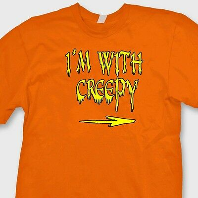 I'm With Creepy Funny Halloween Easy T-shirt Couple Costume Tee Shirt](Easy Creepy Costumes)