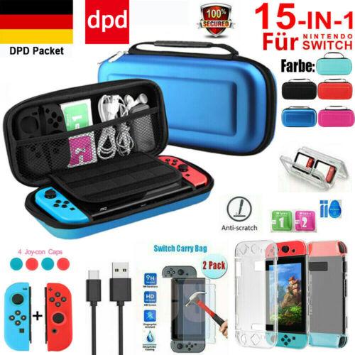 Für Nintendo Switch 15 in 1 Tasche Hard Reise Bag Case+Schutz hülle+Hartglas DHL