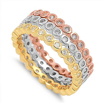 3 Piece Set Sterling Silver Rhodium, Yellow And Rose Gold...