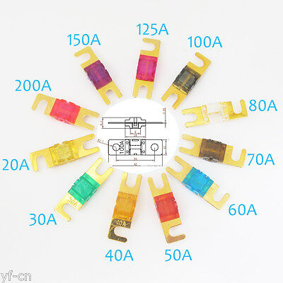 2pcs Gold Plated Anl Fuse For Car 20304050607080100125150200 Amp