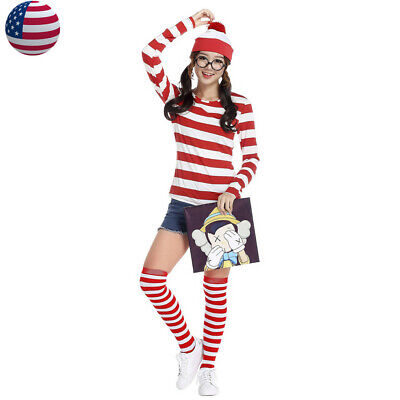 Red And White Costumes (Women Cosplay Cartoon Costume Red White Striped Shirt Hat Glasses Stockings)