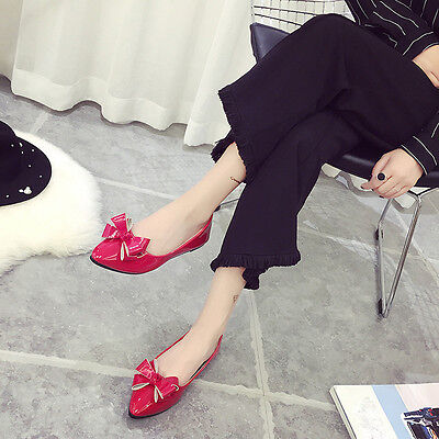 Women Bow Pointed Toe Bright Leather Flat Shoes Butterfly-knot Solid Work Shoes