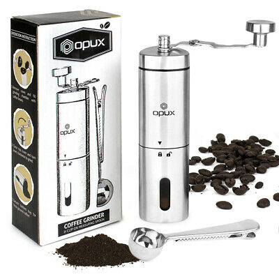 Mill Manual - Manual Coffee Grinder Stainless Steel Conical Burr Portable Hand Crank Bean Mill