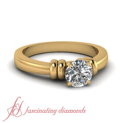 3/4 Carat Round Brilliant Cut Diamond Solitaire Bow Style Engagement Rings GIA