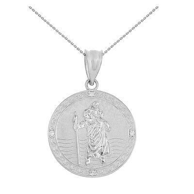 925 Sterling Silver Saint Christopher Circle Medallion 4 Cz 1  Pendant Necklace