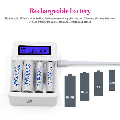 4 Slots LCD Screen USB Battery Charger for Rechargeable AA/AAA/Ni-Cd/Ni-MH UK for sale  Shipping to Ireland
