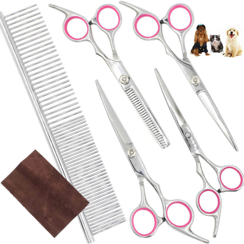 6Pcs/Kit Pet Hair Scissors Set Dogs Grooming Cutting Thinnin