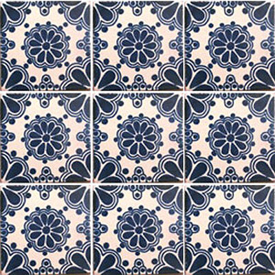 SET #007) With NINE Mexican Tiles Ceramic Clay Handmade Handcrafted Mexico Tile