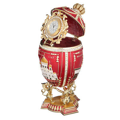 Russian Decorative Faberge Egg 3 Sights of Moscow with clock 7.1'' (18cm) red, used for sale  Shipping to United States