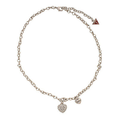 Guess Jewelry UBN81194 Ladies Silver Stainless Steel Crystal Charm Necklace Crystals Guess Ladies Jewelry